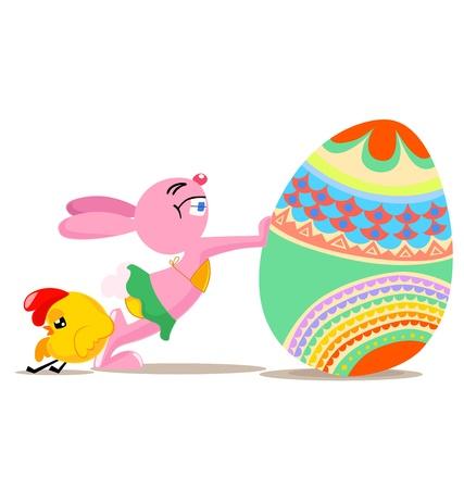 Vector illustration of rabbit and chicken push big egg Stock Vector - 17514380