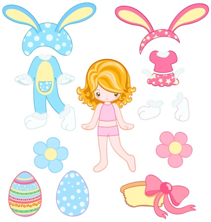 Cute girl with two rabbit dresses and accessories for Easter Vector
