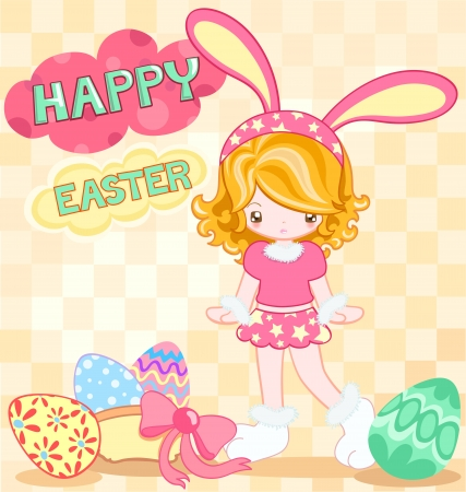 Easter card of cute girl dressing with rabbit dress Stock Vector - 17514381