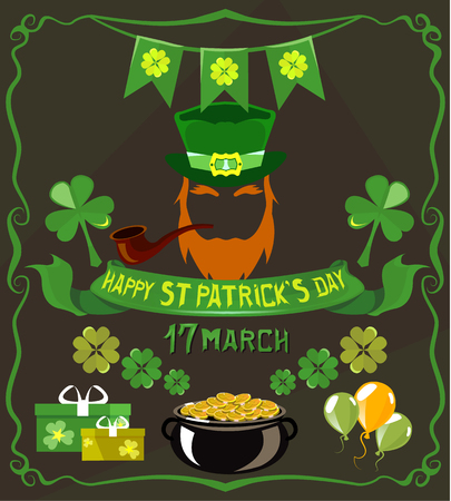 Set of isolated objects on St. Patricks Day theme Illustration