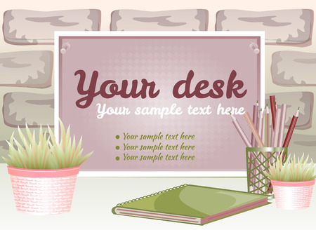 old notebook: Board for text with a flower pot on a brick background Illustration