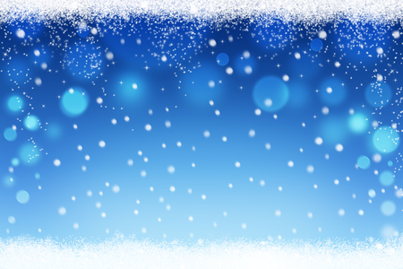 Abstract snow bokeh background with snow flakes for Christmas and winter