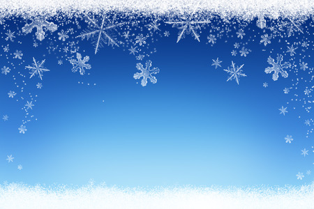 Christmas winter background with snow and snowflakes Stock Photo