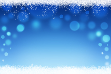 Christmas or winter abstract bokeh background with snow