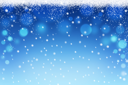 Winter and christmas bokeh background with snow flakes