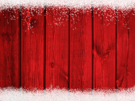 Red wooden christmas winter snow background