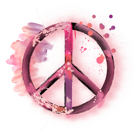 Watercolor peace sign symbol illustration painting Stock Photo