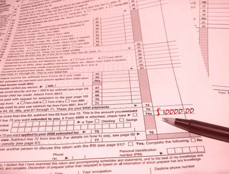 Rosy Outlook -- rose-colored tax form with pen indicating big refund