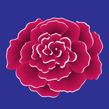 Single red paper flower with white edge. Vector illustration isolated on blue background. 免版税图像 - 98032722