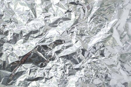 Close up of wrinkle silver foil as background. Freud sheet. Stok Fotoğraf