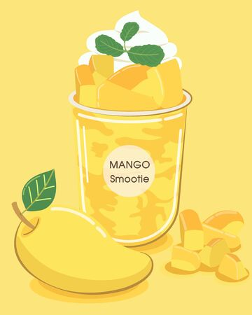 Mango yellow smoothie blended with mango texture and whipped cream on top, colorful and refreshing in summer.