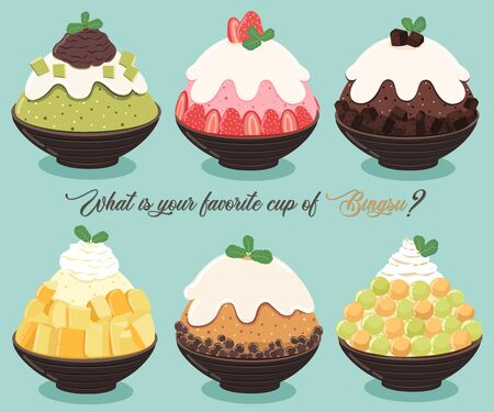 Vector illustration of Bingsu,most popular dessert korean and thailand.
