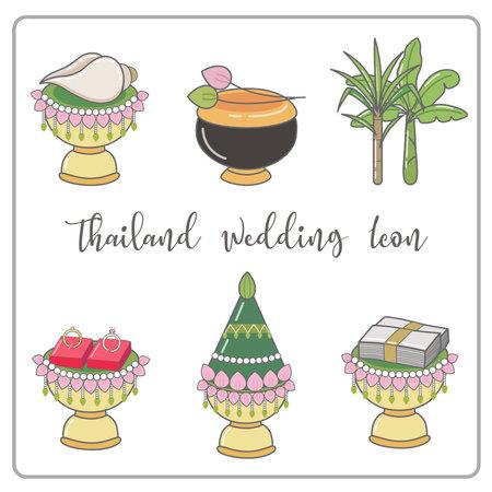 Wedding timeline thai icons set. thailand wedding ceremony icon.