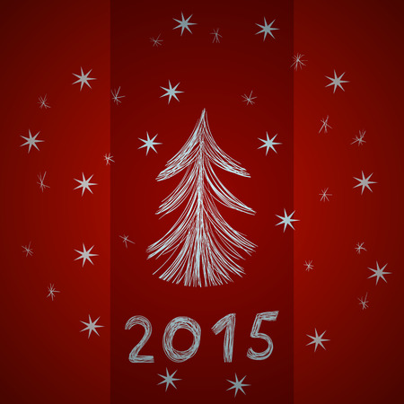 midwinter: Festive red background with sketch digits 2015, snowflakes and Christmas tree, hand-drawn illustration. Xmas picture for your cover design, greeting cards or invitations.