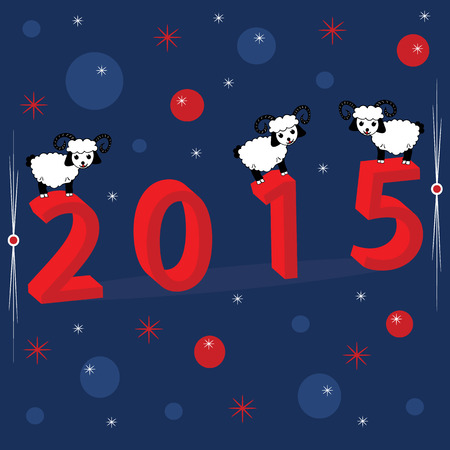 midwinter: Christmas holiday background with numerals 2015, snowflakes and three white sheep. Xmas illustration for your design covers, postcards or invitations. Illustration