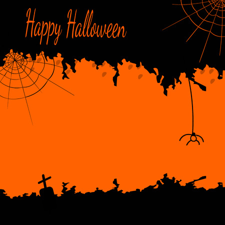 noticeable: Festive Halloween postcard with cobwebs and a spider in black and orange colors Illustration