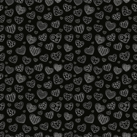 Seamless repeating pattern of a set of sketches of white hearts with different texture on a dark background. Editable vector texture for your design. Vector