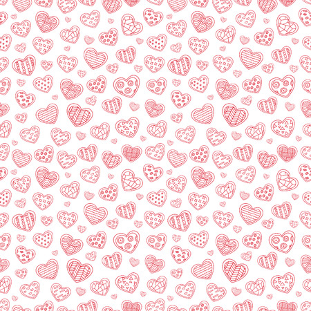 Seamless repeating pattern of a set of sketches of pink hearts with different texture on a white background. Illustration