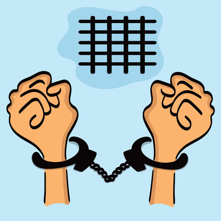 restraining: Two separate hands in handcuffs on the background of blue sky and grating.