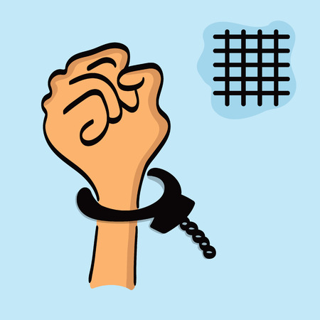 One drawing of a hand in the handcuffs isolated on a blue background with a lattice. Vector editable illustration. Vector