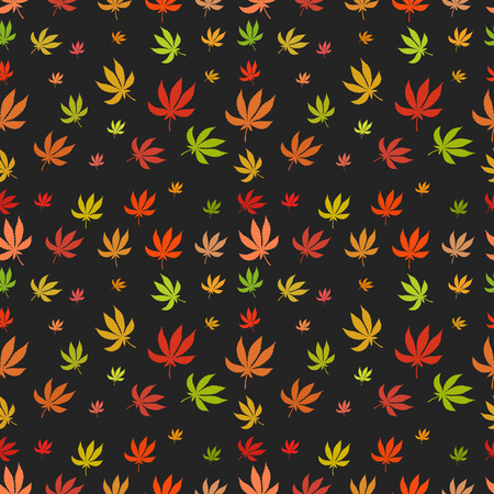 legalize: Seamless pattern of leaf marijuana different colors. Vector texture for your design.