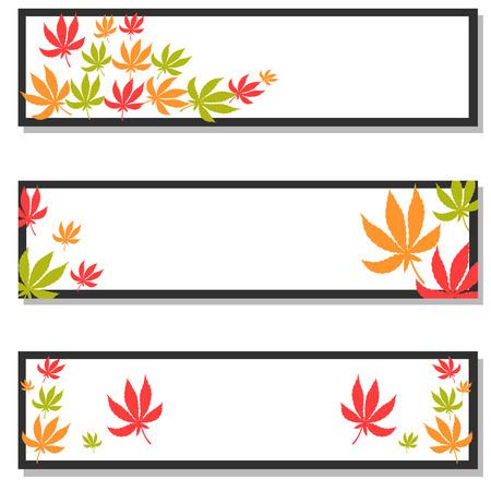 narcótico: Jogo de três bandeiras com folhas de maconha em cores diferentes. Ilustração