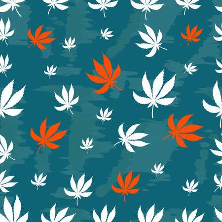 dope: Seamless repeating pattern of white and orange leaves of marijuana on a blue background. Vector texture for design of fabric, Wallpaper, paper, wrappers, tissue.