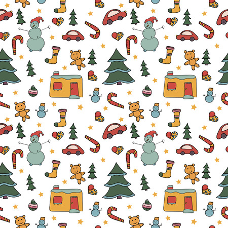 Christmas seamless pattern cartoon snowmen, colored toys on a white background. Vector repeating texture.