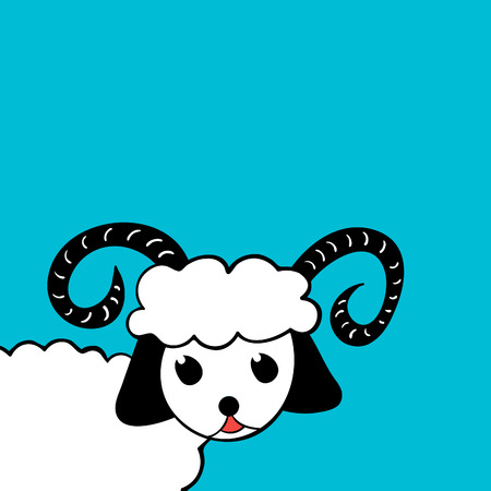 Vector illustration of a white sheep with horns on a blue background Vector