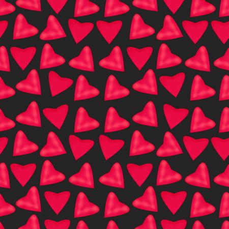 decoracion boda: Textura de corazones de color rosa sobre un fondo negro, vector editable sin fisuras patr�n repetitivo. Dise�o para la decoraci�n de la boda, el d�a de San Valent�n, para la tela, papel pintado.
