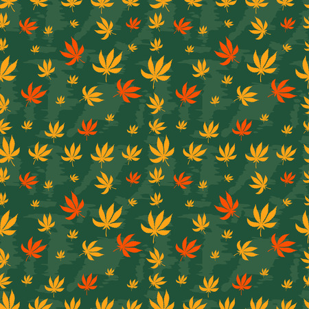 dope: Seamless pattern of leaf marijuana on a green background. Vector texture for your design.