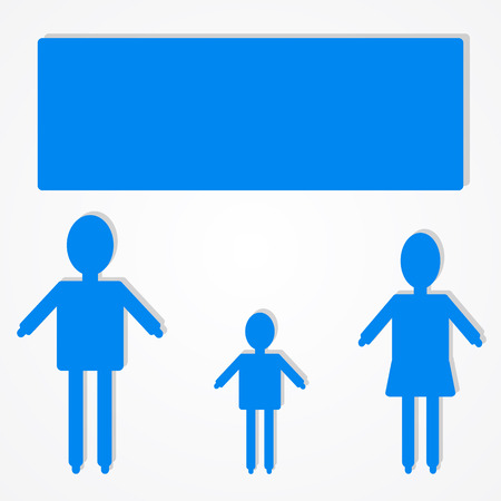 triplet: Family infographic icon with text bubble, vector illustration of business design. Illustration