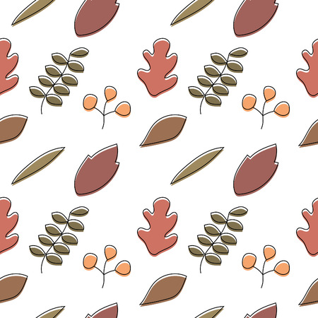 Seamless pattern of colorful autumn leaves on white background Vector