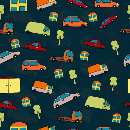 peculiar: Seamless pattern cartoon cars, houses and trees on a dark blue background. Vector texture. Illustration