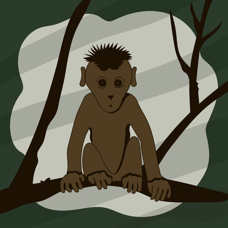 Cartoon monkey sitting on a tree branch and looking right vector illustration. Vector