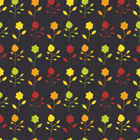 Seamless pattern of colorful painted flowers on a dark background. Vector illustration design Wallpaper, cloth, wrappers. Vector