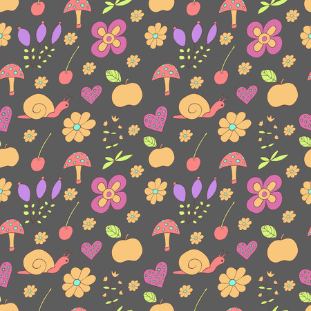 Seamless pattern with painted flowers, snails, mushroom, apple on a dark background Vector