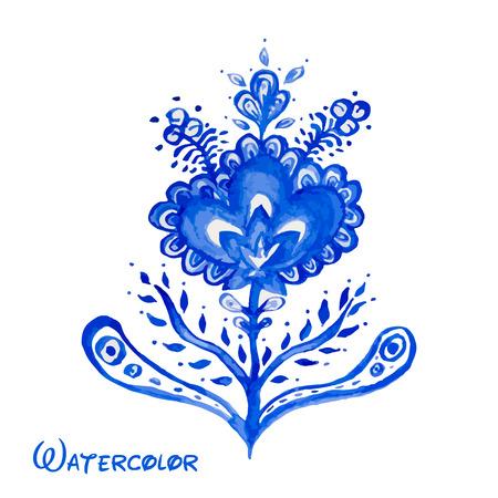 flor de loto: Azul floral abstracto pintado a mano acuarela. Elemento ruso vector Gzhel estilo de dise�o.
