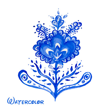 Blue abstract flower hand painted watercolor. Russian style Gzhel vector element for design.