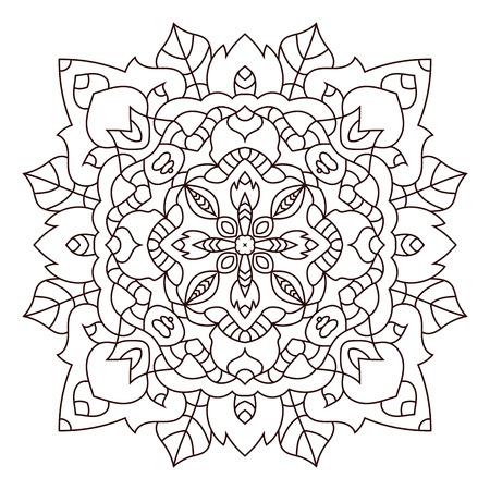 whirling: Circular symmetric pattern on white background. Vector illustration of mandala. Illustration