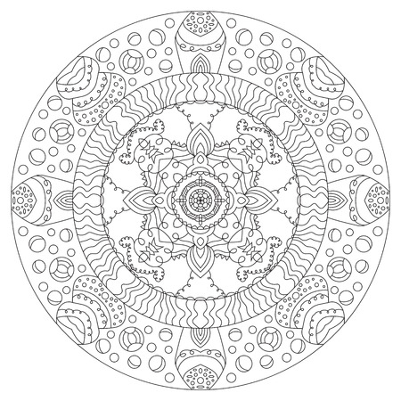 design visionary: Symmetrical circular pattern mandala outline on a white background