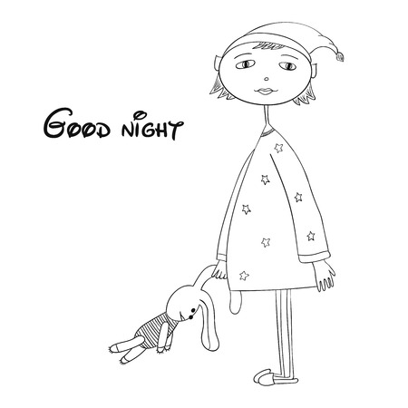 overnight: Little girl in pajamas and Bunny, vector illustration of the outline of the child. Illustration