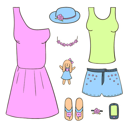 Set of colored women39s clothing and accessories dress hat shorts phone. Vector handdrawn objects for design. Vector