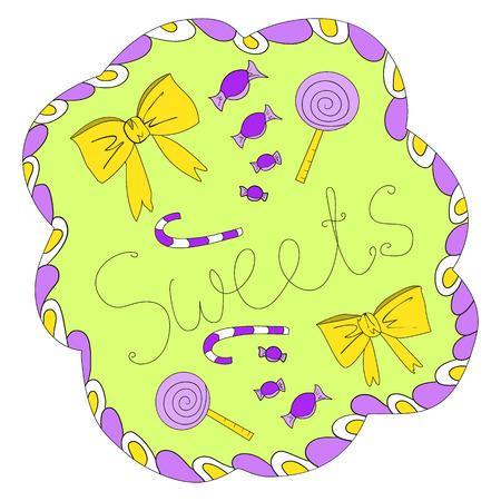 garabatos: Dibujado caramelo colorido Doodle y arcos con letras dulce