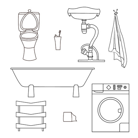 canalization: Set drawn sketches of bathroom items. Objects for painting isolated on white background sink, toilet, towel, washing machine, shelf.