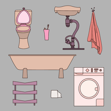 urinal: Set of drawn doodles of bathroom items. Objects isolated on gray background sink, toilet, towel, washing machine, shelf. Illustration