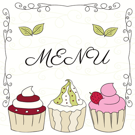 fruitcakes: Drawn colorful Doodle cupcakes. Confectionery items for menu design, restaurant, recipe.