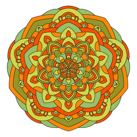 design visionary: Symmetrical circular pattern of colored mandala, vector round Oriental pattern for design.