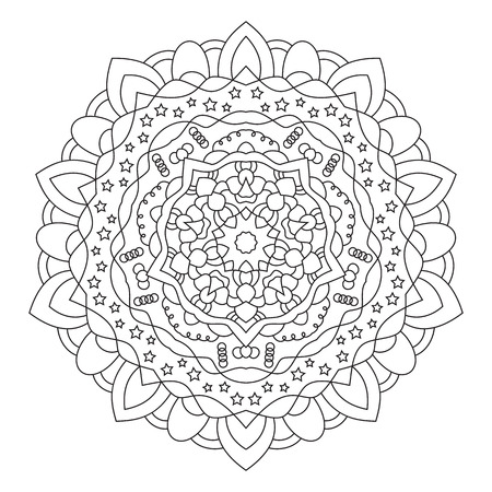 symmetric: Circular symmetric ethnic patternisolated on white background. Mandala for coloring.