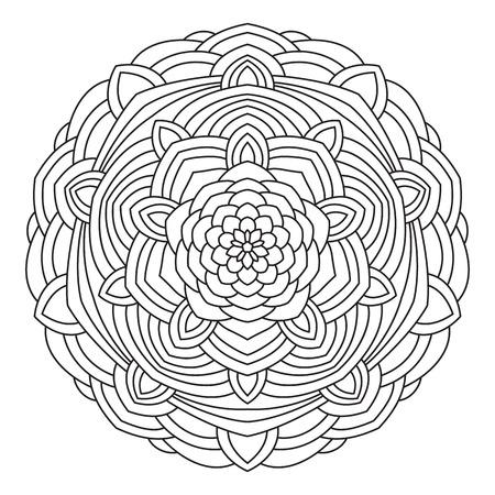 Circular symmetric ethnic pattern. Mandala for coloring. Illustration